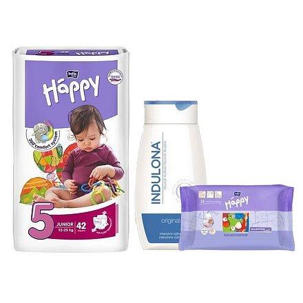 Happy Junior dětské pleny 42 ks + Indulona 250ml a ubrousky 24ks