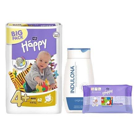 Bella HAPPY Maxi Plus Big Pack dětské pleny 62 ks + Indulona 250ml a ubrousky 24ks